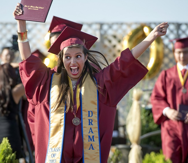 Wilson High graduate Ingrid Giovanie Ornelas-Gomez exuberantly waves her diploma during the 46th annual commencement exercises at the Hacienda Heights campus May 20, 2013.    (Staff photo by Leo Jarzomb)
