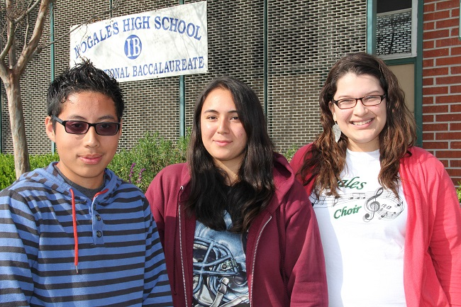 Nogales grads Alberto Jeronimo, Maria Ortiz and Kimberly Cardenas have been named Gates Millenium Scholars. (Photo by Gina Ward, Courtesy of Rowland Unified )