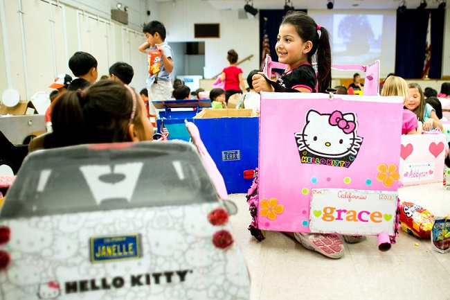 Kindergardners show off their cars at Blandford Elementary School in Rowland Heights on Tuesday.