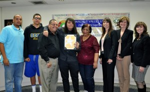Diamond Bar High School junior Josh was honored as a Super Star Student.  Shown with family members, Board President Cindy Ruiz, Principal Catherine Real and GLC Julie Salas.