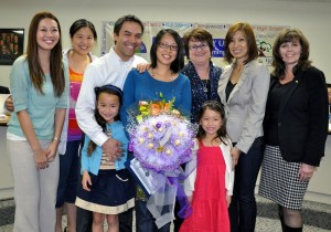 Walnut Elementary parent volunteer Ceping Chao was honored with the Partner in Education Award with Board President Cindy Ruiz. (5305) Shown family members, Board President Cindy Ruiz, Principal Janet Green and staff members.