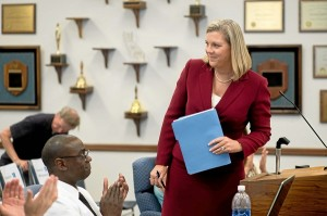 Rowland Unified applauds new superintendent Julie Mitchell. Photo by Watchara Phomicinda