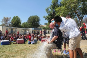 Oswalt Principal Kevin Despard takes the Ice Bucket Challenge in Walnut.