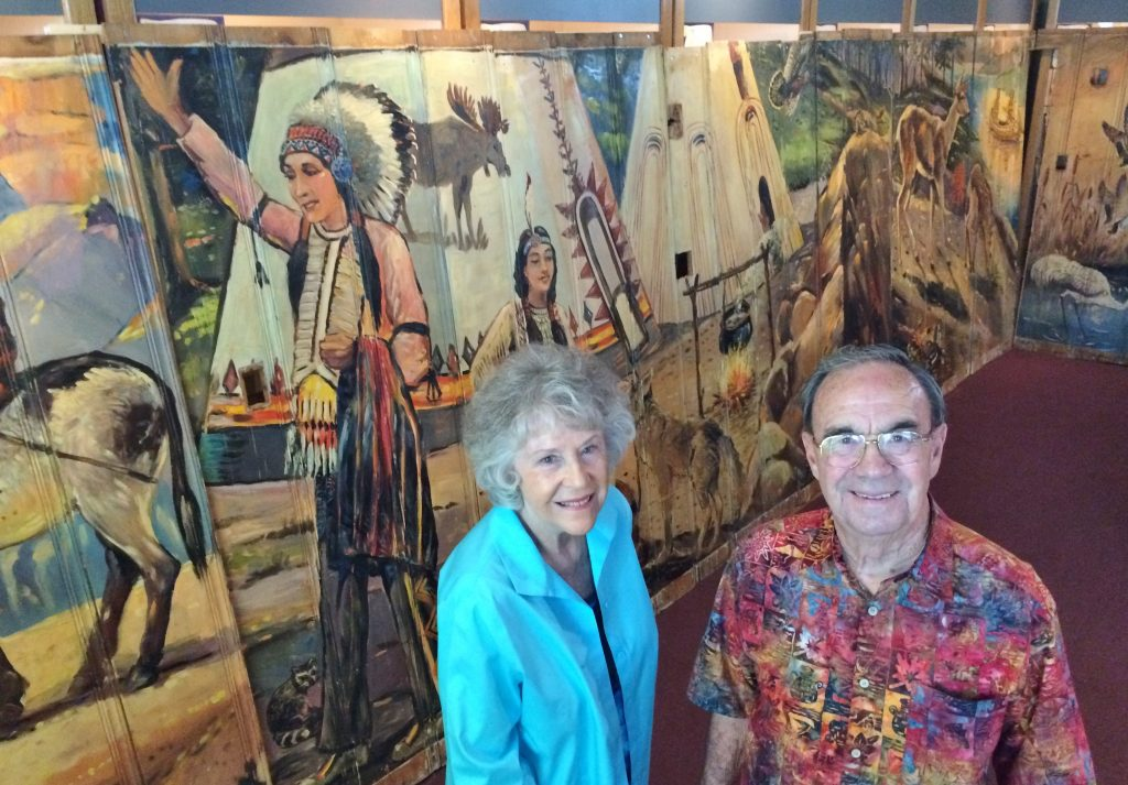 Marilyn Anderson and Dave Stevens of the Cooper Regional History Museum say they have a find: some 45 feet of murals painted in 1950 for the Red Chief Motel in Rancho Cucamonga. (Photo by David Allen)