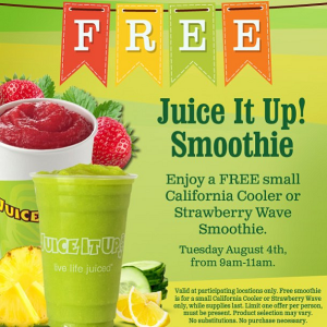 Juice It Up Anniversary Freebie