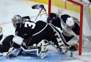 Kings goalie Jonathan Quick blanked the Sabres on Thursday for his team-record 33rd career shutout. (Photo by Hans Gutknecht/Los Angeles Daily News)