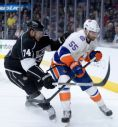 Kings forward Dwight King, left, scored the only goal in a 2-1 shootout loss to the Islanders. (Photo by Harry How/Getty Images)