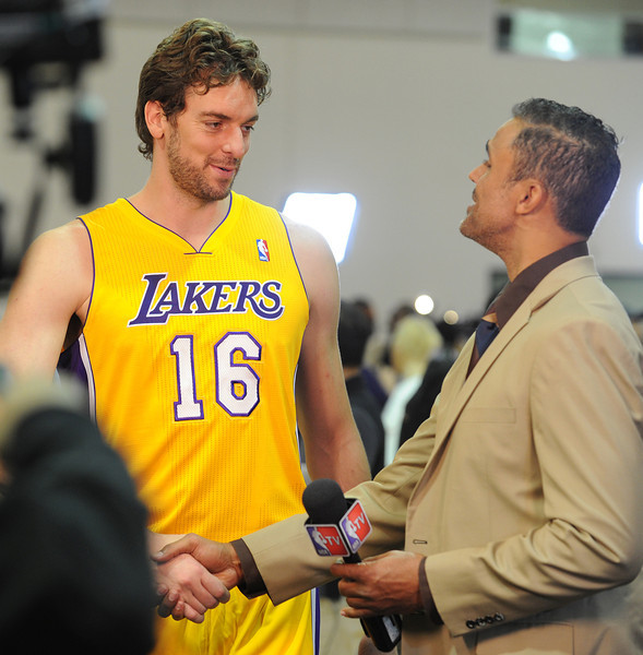 Pau Gasol is interviewed by former Laker and current NBA TV reporter Rick Fox.Pau Gasol is interviewed by former Laker and current NBA TV reporter Rick Fox.The Los Angeles Lakers held a media day at their El Segundo practice facility. Players were photographed for team materials, and interviewed by the press. El Segundo, CA. 9/27/2013. photo by (John McCoy/Los Angeles Daily News)