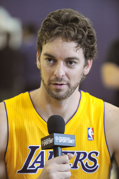 Pau Gasol is interviewed.The Los Angeles Lakers held a media day at their El Segundo practice facility. Players were photographed for team materials, and interviewed by the press. El Segundo, CA. 9/27/2013. photo by (John McCoy/Los Angeles Daily News)