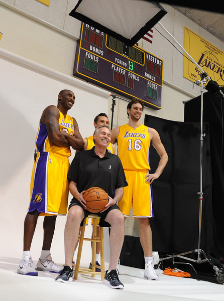 Kobe Bryant, Steve Nash, Pau Gasol and Mike D'Antoni pose for the Lakers photographer. The Los Angeles Lakers held a media day at their El Segundo practice facility. Players were photographed for team materials, and interviewed by the press. El Segundo, CA. 9/27/2013. photo by (John McCoy/Los Angeles Daily News)