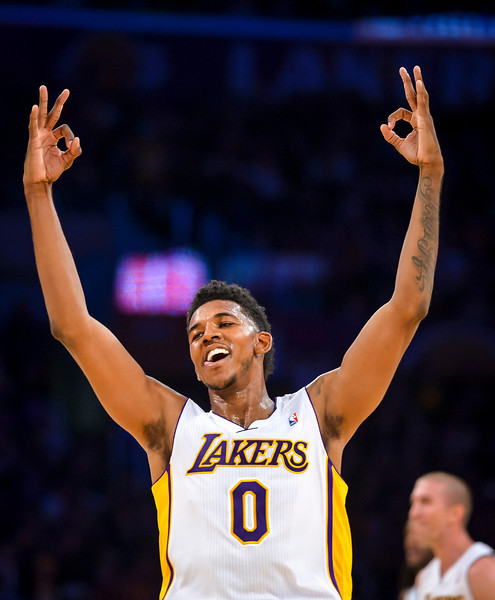 LakersÕ Nick Young celebrates a basket as the Lakers take a 10 point lead during second half action at Staples Center Sunday, November 17, 2013.  The Lakers defeated the Detroit Pistons 114-99.  ( Photo by David Crane/Los Angeles Daily News )