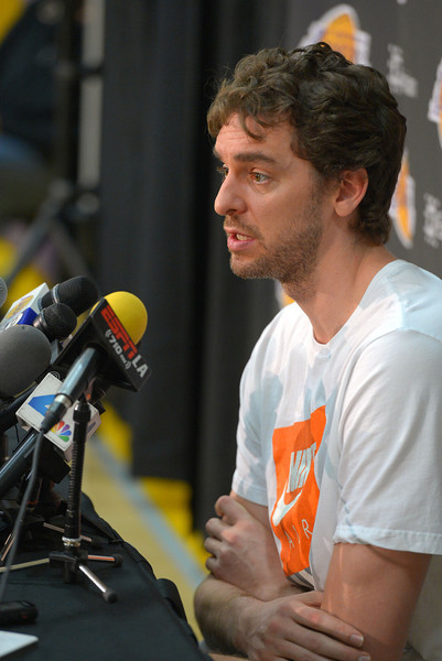 Pau Gasol talks about the disappointing season and his future following his Lakers exit interview at their training facility in El Segundo, CA on Thursday, April 17, 2014. (Photo by Scott Varley, Daily Breeze)