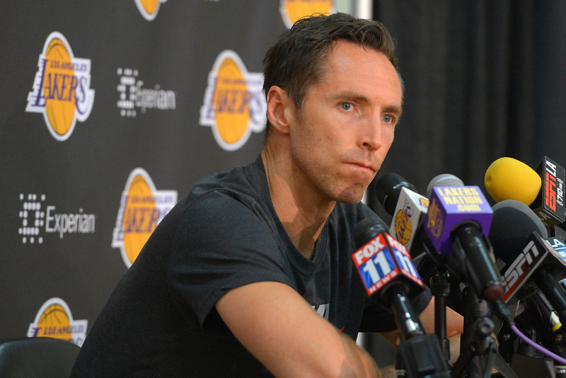 Steve Nash talks about the disappointing season and his future following his Lakers exit interview at their training facility in El Segundo, CA on Thursday, April 17, 2014. (Photo by Scott Varley, Daily Breeze)