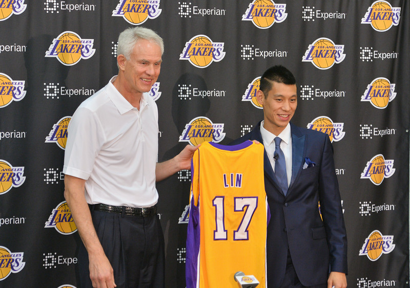 Lakers introduce newest player Jeremy Lin to the gathered media at the Toyota Sports Center training facility in El Segundo.   Photo by Brad Graverson/The Daily Breeze/ 07/24/14""