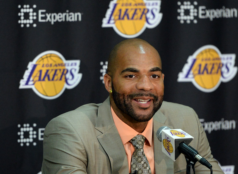 The Los Angeles Lakers held a press conference to announce the addition of Carlos Boozer to the team Friday, July 25, 2014, El Segundo, CA. Photo by Steve McCrank/Daily Breeze