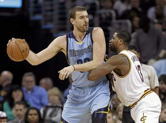 Memphis Grizzlies' Marc Gasol, left, the 2012-13 Defensive PLayer of the Year and younger brother of former Laker Pau Gasol, is expected to be one of the Lakers' free agent targets in the offseason. (AP Photo/Mark Duncan)