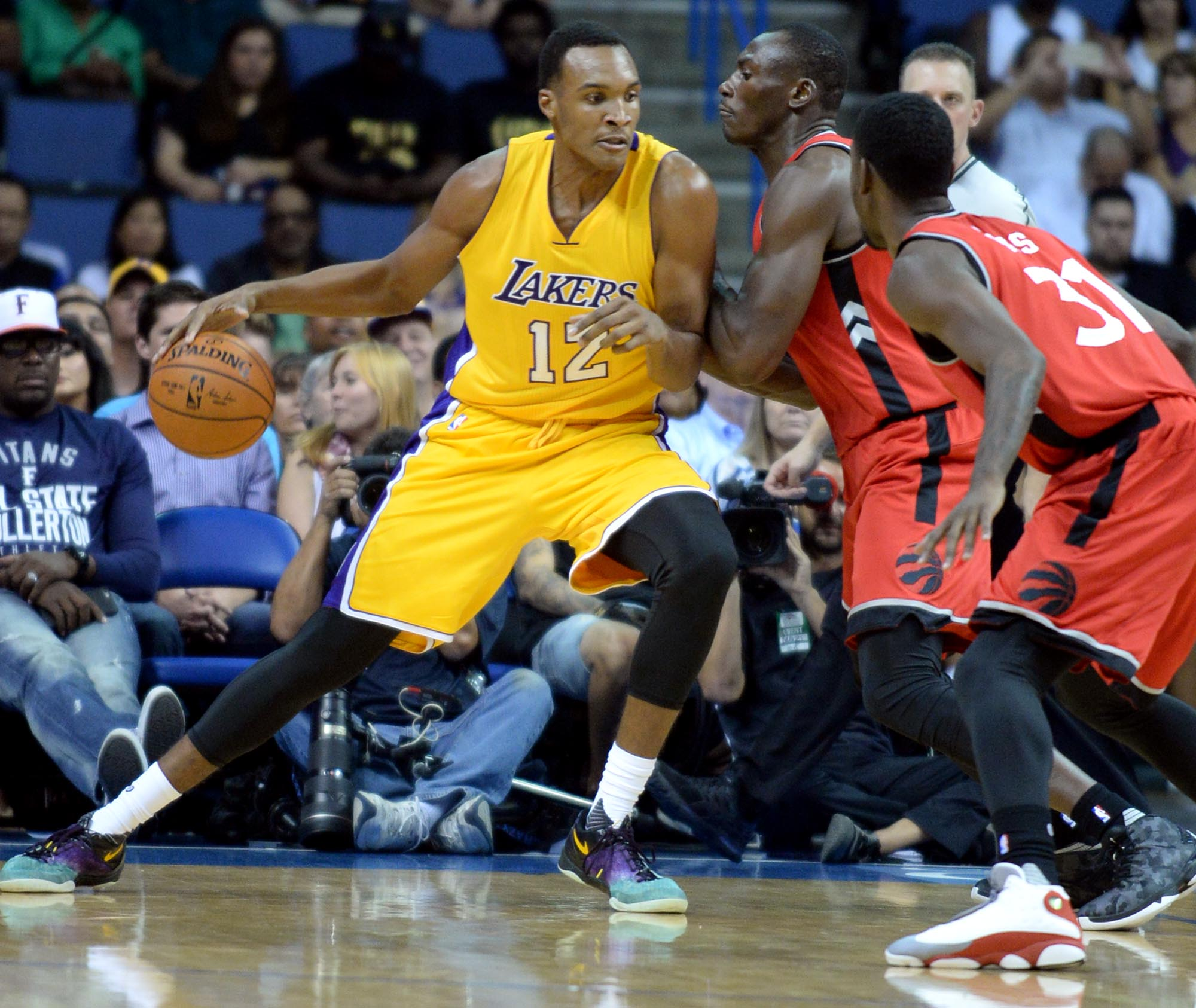 Los Angeles Lakers vs Toronto Raptors on Thursday, October 8, 2015 at Citizens Business Bank Arena in Ontario, Ca. (Micah Escamilla/Inland Valley Daily Bulletin)
