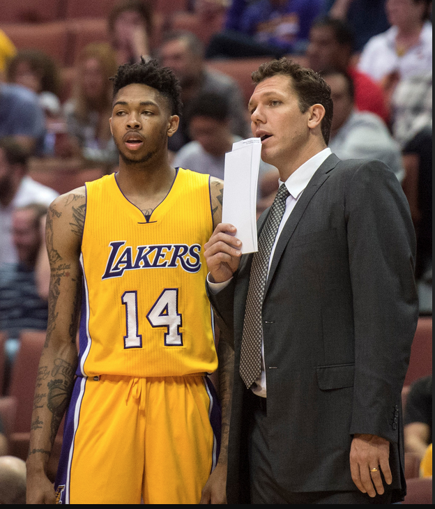 Lakers head coach Luke Walton, right, gives instructions to Brandon Ingram during a preseason game against the Kings at Honda Center on Tuesday, Oct. 4, 2016. (Photo by Kyusung Gong, Orange County Register/SCNG)