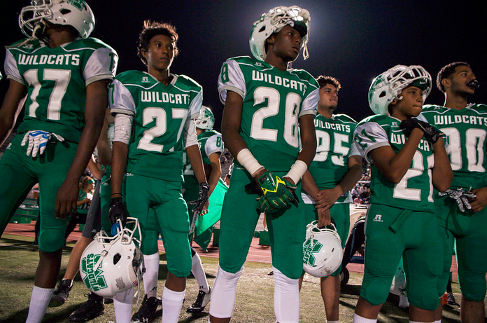 Burbank beat Monrovia 38-20 during Monrovia's Friday night opening game at Monrovia High School on August 28, 2015.(Photo by Sarah Reingewirtz/Pasadena Star-News)