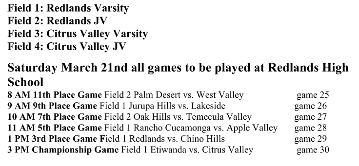 Redlands softball invite schedule