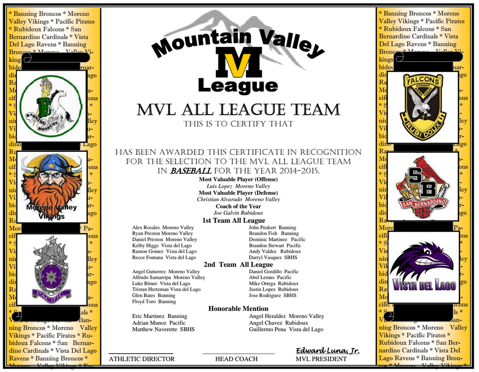2015 Mountain Valley League  baseball