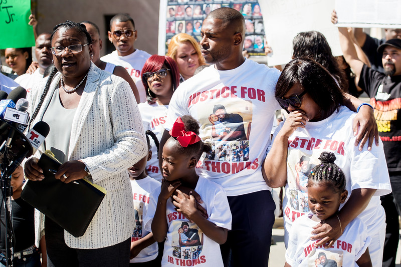 The family of Reginald Thomas and their attorney, Caree Harper, left, share witness accounts of the in-custody death of Thomas at a press conference in front of the Pasadena Police Department in Pasadena, Calif. on Monday, Oct. 3, 2016. Thomas died Friday after an encounter with Pasadena Police where he was tased 3 times. (Photo by Watchara Phomicinda, Pasadena Star-News/ SCNG)