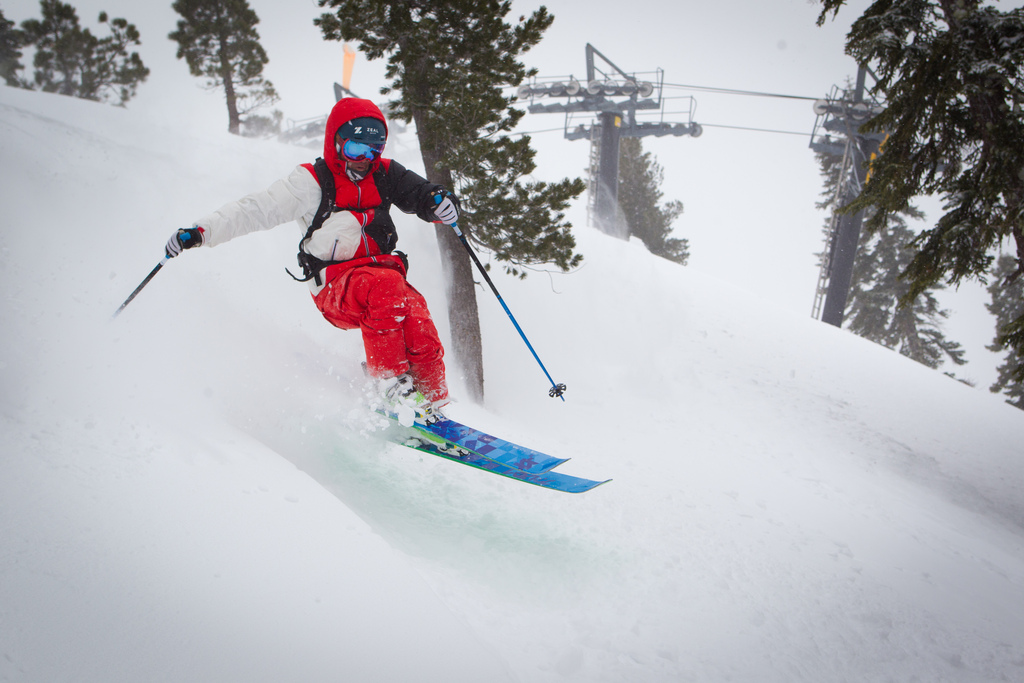 Squaw Valley has a base depth of 2 to 8 feet, and expect that to increase as fresh powder keeps falling today at the resort. (Jeff-Engerbretson photo)