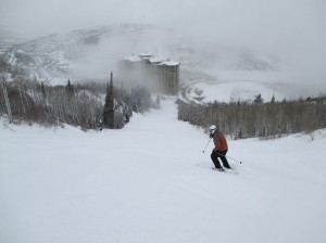 Skiing in the clouds at Deer Valley Ski Resort in Park City, Utah. (Photo by Marlene Greer)