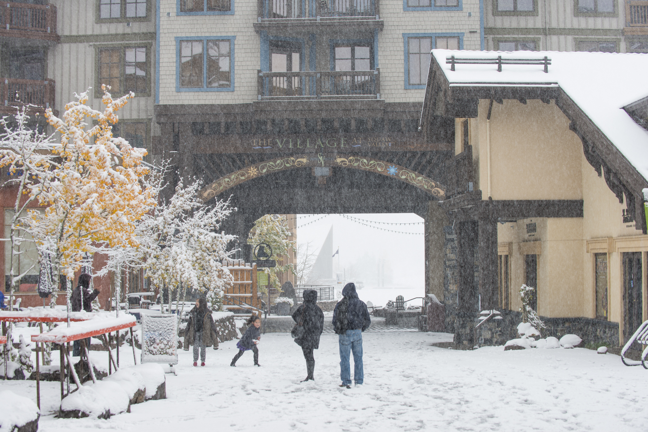 The Village at Squaw Valley became a winter wonderland this morning as several inches of snow fell at the resort and throughout the Lake Tahoe area. (Squaw Valley photo)