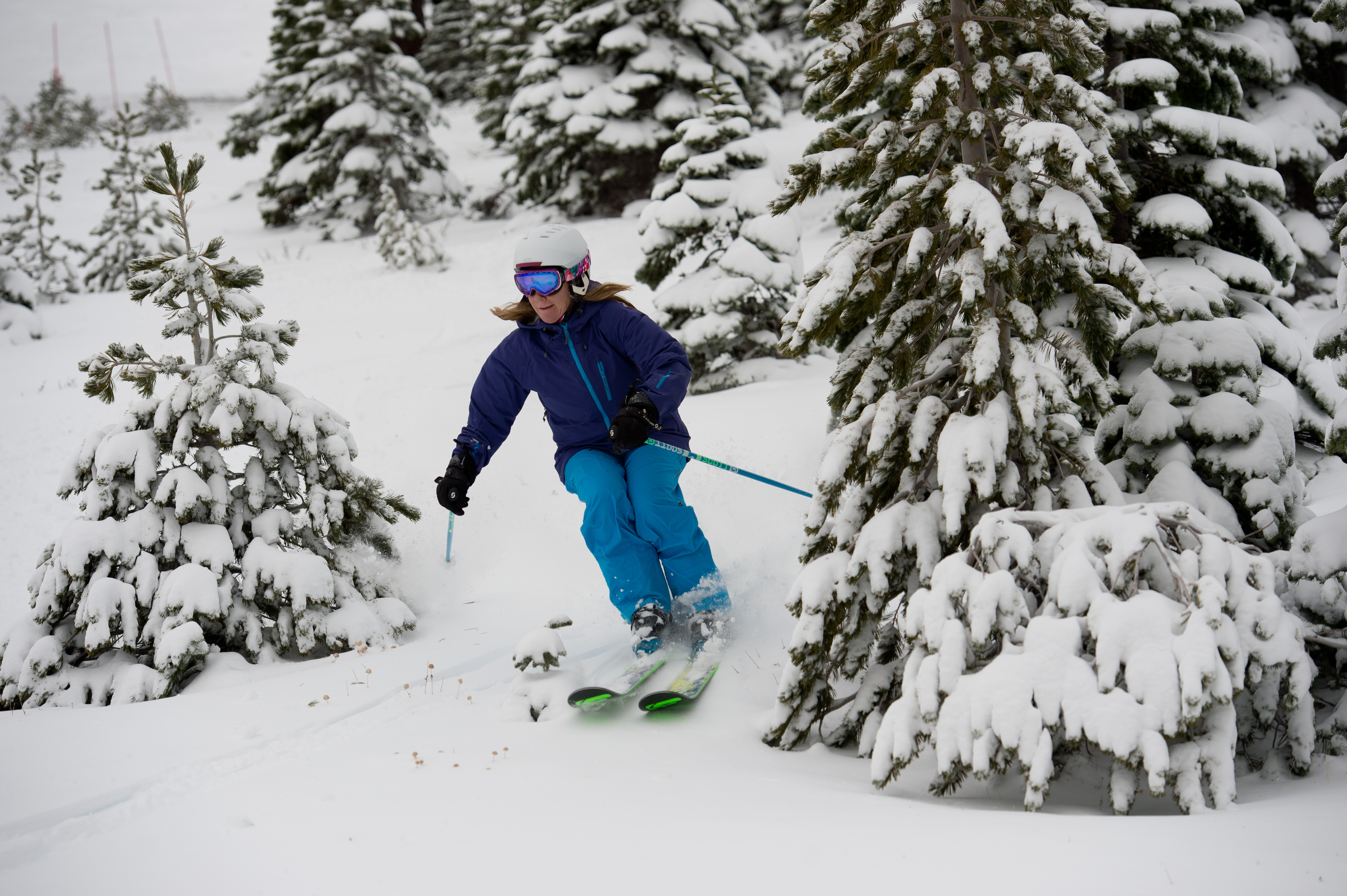 A skier glides through the trees at Squaw Valley, where the slopes are expected to receive another 2 feet of snow by Thursday. (Squaw Valley photo)