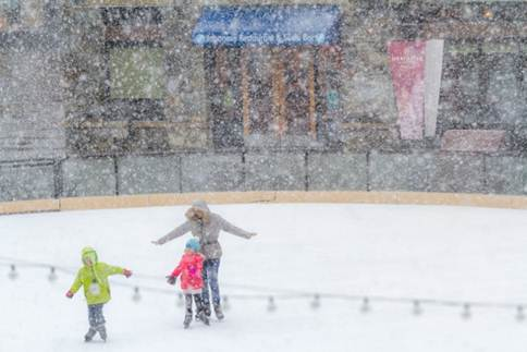 It was a winter wonderland today at the Village of Northstar, where a trio of skaters had the 9,000-square-foot ice skating rink apparently all to themselves. (Northstar photo)