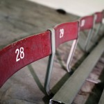 Red 1930s bleacher seats
