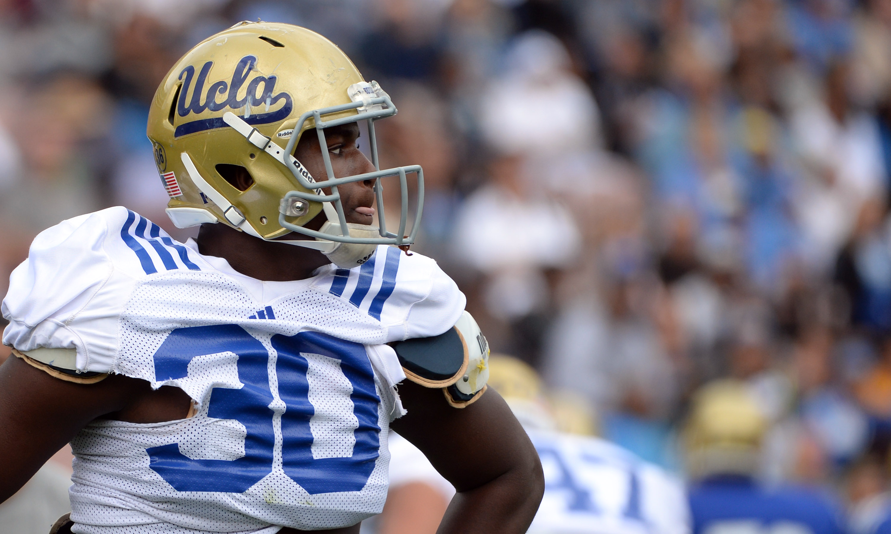 "Myles Jack is one of three UCLA players on Phil Steele's preseason All-American list. The linebacker is pictured during UCLA's ""Spring Showcase"" at the Rose Bowl on April 24, 2015. (Keith Birmingham/Staff)"
