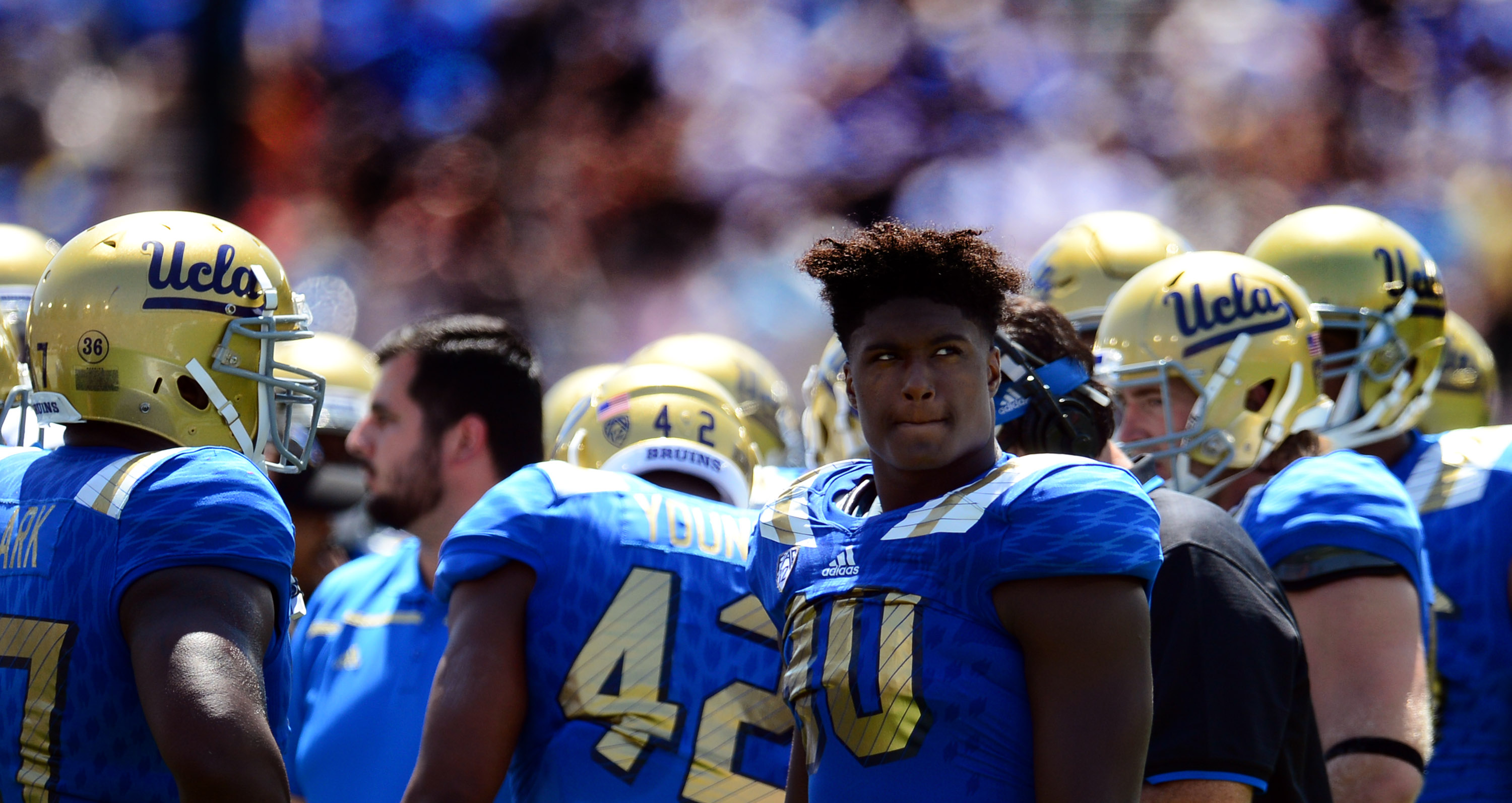 UCLA linebacker Myles Jack (30) said he was surprised that head coach Jim Mora seemed skeptical about his NFL draft decision. (Keith Birmingham/Staff)