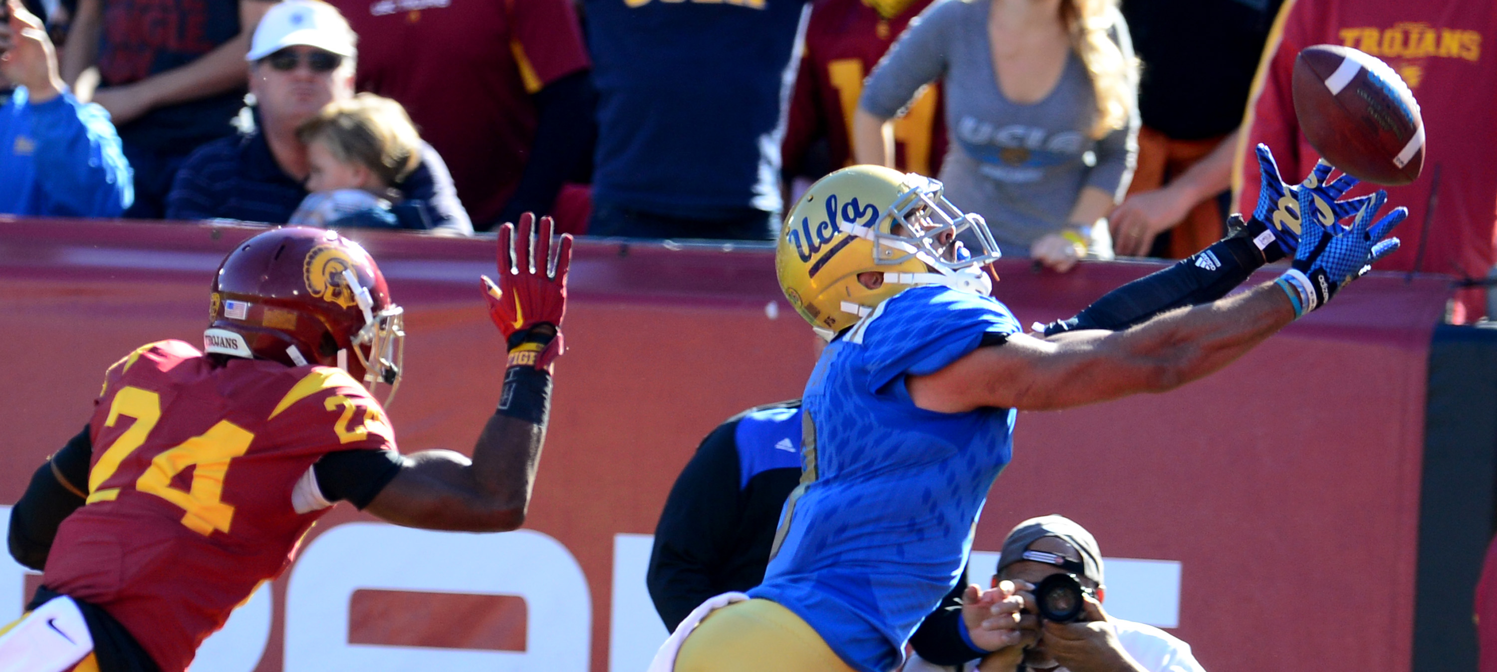 UCLA's bowl game will be the career finale for seniors such as Jordan Payton, the team's all-time receptions leader. (Keith Birmingham/Staff)