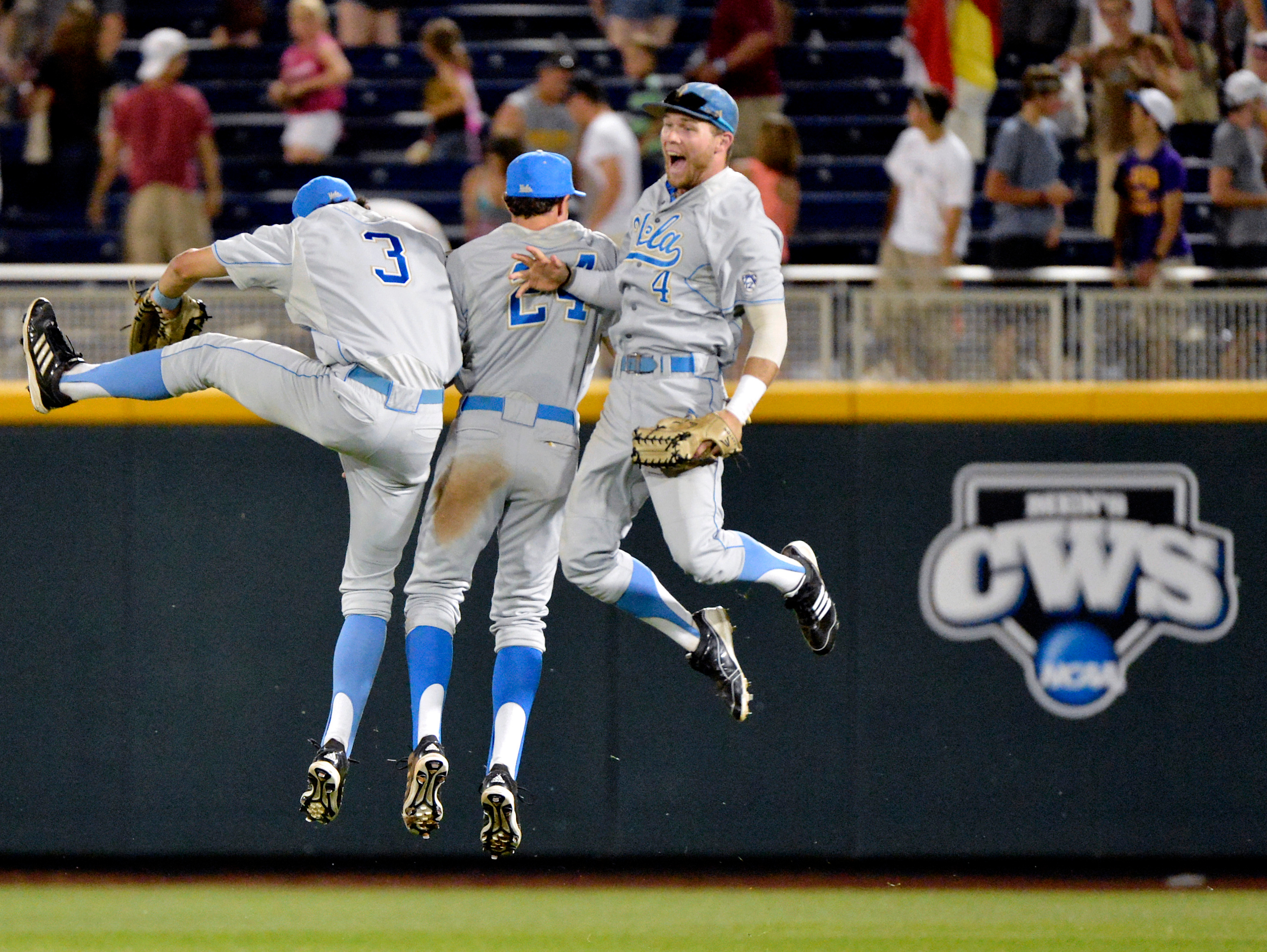 Outfielder Eric Filia (4) was a crucial part of UCLA's national title run in 2013, but missed the last two seasons due to injury and an academic suspension. (Ted Kirk/Associated Press)