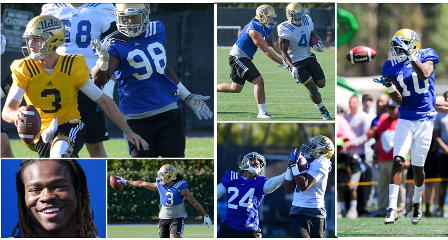 Spring standouts for UCLA include Takkarist McKinley (top left) and Kenny Walker (far right). Photos by Brad Graverson and Thomas R. Cordova, Daily Breeze/Press-Telegram