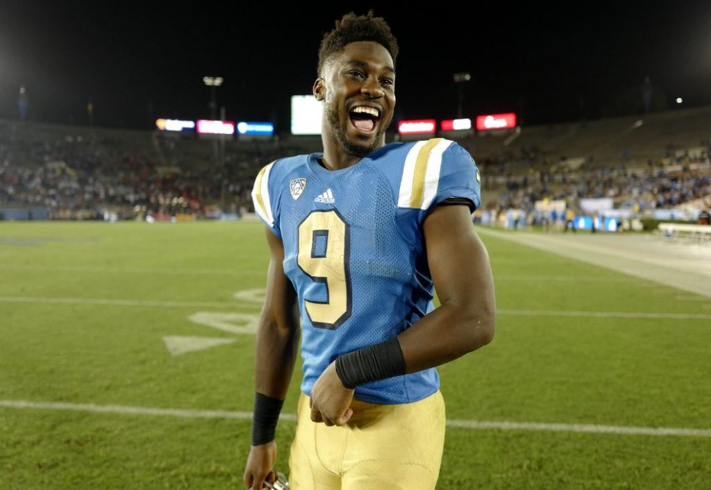 UCLA running back Soso Jamabo celebrates the Bruins' win over UNLV On Saturday at the Rose Bowl. (Photo by Keith Birmingham/Pasadena Star-News)