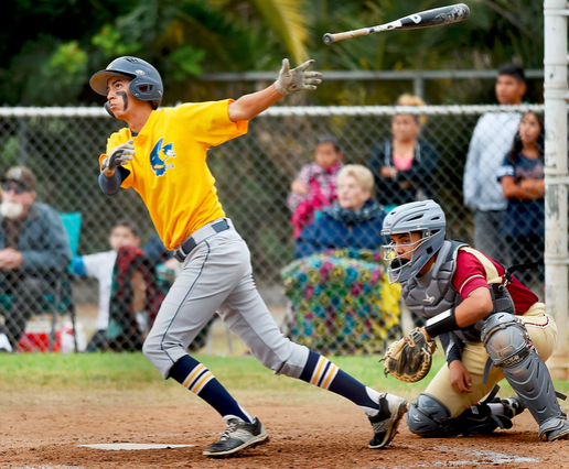 Nick Gallegos hitting a two run home run in the top of the third inning. California High School Boys baseball team won the game against La Serna High School 6-3 in Whittier Friday, April 24, 2015.(Photo by Walt Mancini/Pasadena Star-News)